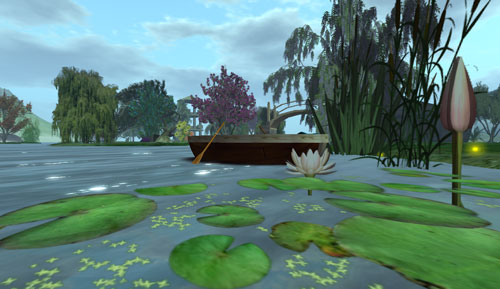 Mystical Serenity, water lilies and boat