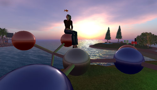 Sitting on a caffeine molecule at sunrise