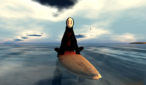 Noface on a surf board. Avatar created by Flea Bussey of Grendel\'s Children
