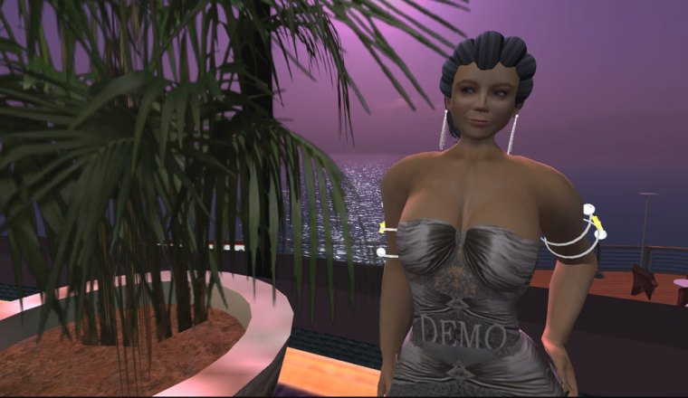 Cyberloom in demo ballgown by Sacha\'s Designs standing in the ballroom of S.S. Galaxy.