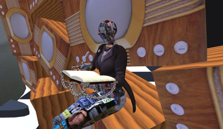 cyberloom blogging whilst seated on Nebulosus Severine's TV sets (wearing TV avatar skin by Nebulosus)
