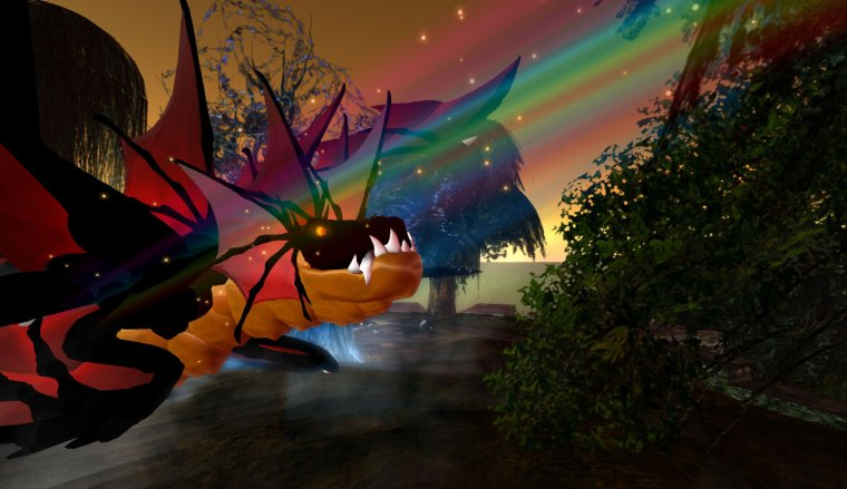 Dragon avatar caught in a rainbow