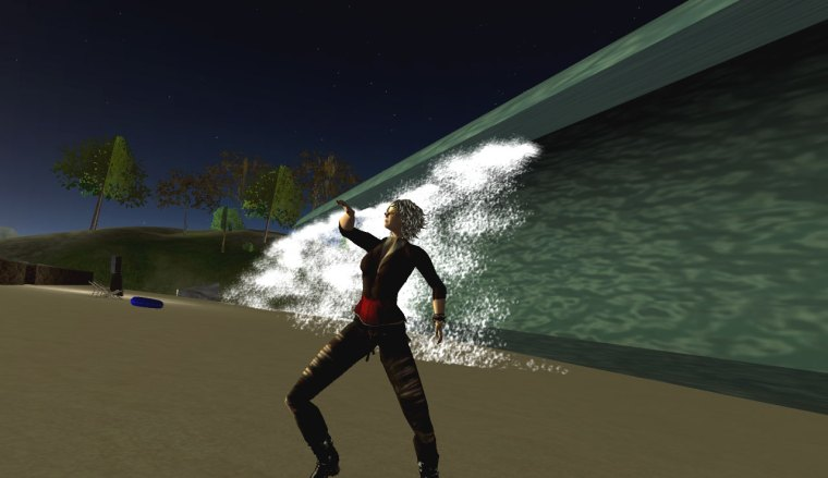 Tsunami simulation and avatar doing the snake dance