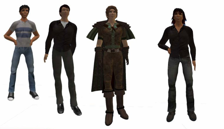 Boy Next Door, Clubgoer, Gamer male (wearing the Woodland Elf skin) & Musician male.