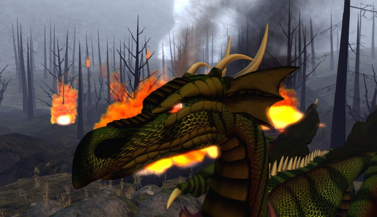 Adult dragon avatar and smoldering forest (dragon by Verkin Raven)
