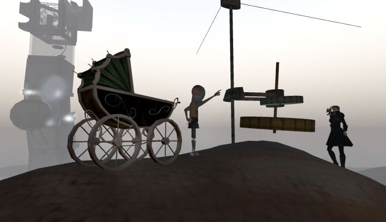 I landed at Immersiva and I was met by a child figure with an old 50s pram