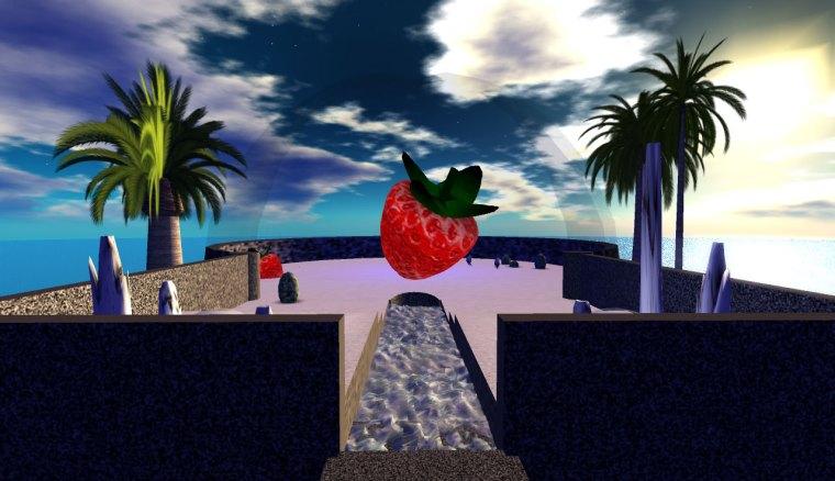 Giant strawberry on strange floating platform above Caerleon Isle and