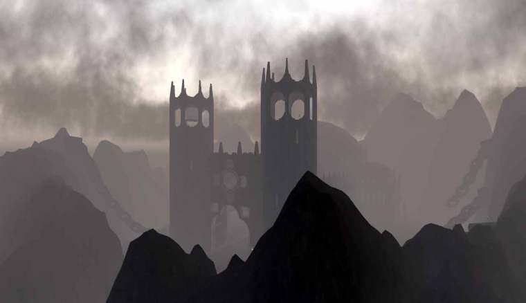 Isle of Wyrms Cathedral in rain cloud