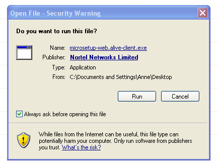 Download security warning for Web Alive