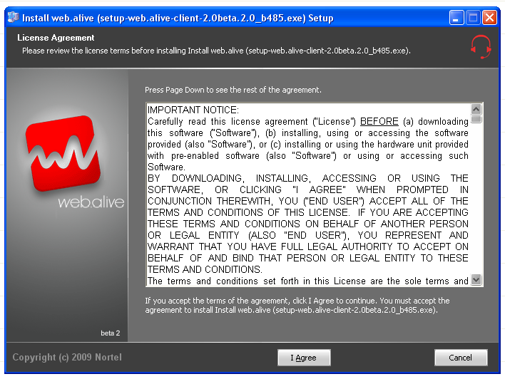 Web Alive license agreement