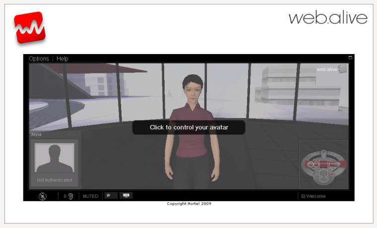First view of Web Alive shows you your avatar staring back at you
