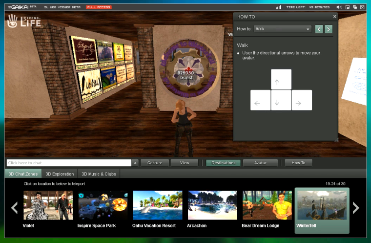 SL Web Viewer provides a range of destinations in Second Life