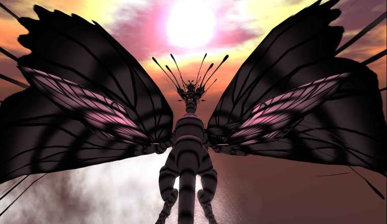 Flea Bussy's Fae Dragon 'Anise' seen flying off into the sunset.