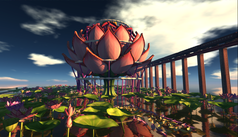 Lotus Stage built by  Donpatchy Dagostino for the SL9B event in Second Life