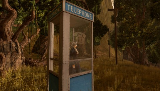Blue phone booth in woods