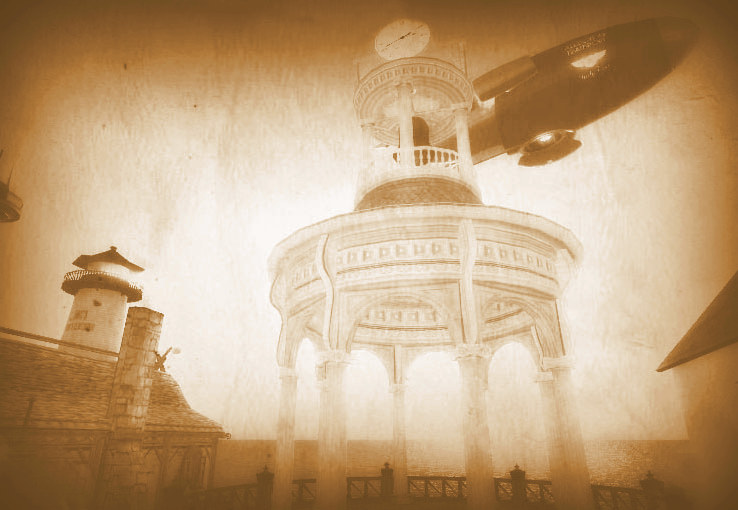 Faded photograph captures the moment when an airship flew over the Kittiwickshire Clock Tower.