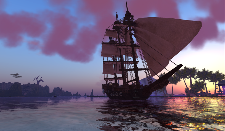 InWorldz SXSW Event: English Galleon at dusk