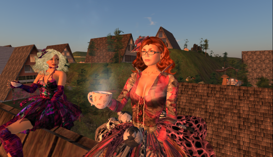 Two avatars sitting on the roof top drinking herb tea